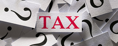 question marks and word tax