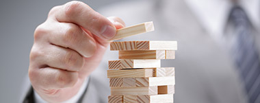 man using building blocks